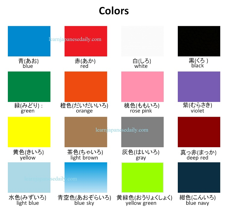 Japanese vocabulary on colors